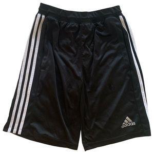 Adidas Black Drawstring Shorts With White Stripes